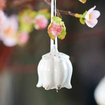 Clochettes décoratives en forme de fleurs Blanc, doré 4pcs