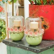 Jardinière, décoration de printemps, bol en métal avec décoration florale, panier de Pâques