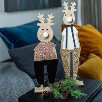 Présentoir de figurines déco en bois renne Noël 12 × 6.5cm H45cm 2pcs
