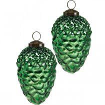 Décoration de l'Avent, cônes décoratifs, fruits d'automne en vrai verre, aspect antique Ø7cm H11,5cm 6pcs