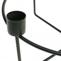 Bougeoir pour 4 bougies coniques métal noir H11cm Ø24.5cm