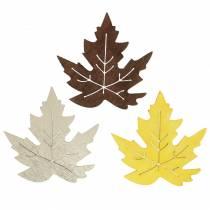 Feuilles d'érable éparses jaune, marron, platine Assortiment 4cm 72pcs