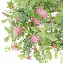 Couronne de fleurs des prés avec trèfle Floqué Rose, Vert Ø30cm