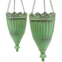 Panier à fleurs vert antique Ø19 / 15cm 2pcs