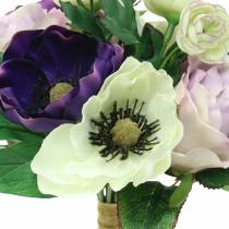 Bouquet d'anémones et de roses Violet, crème 30cm