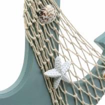 Ancre en bois avec coquilles Bleu clair 28,5×40cm