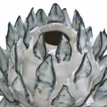 Vase décoratif art choc céramique bleu, blanc Ø9.5cm H9cm