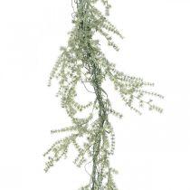 Guirlande d'asperges artificielles blanc, cintre déco gris 170cm