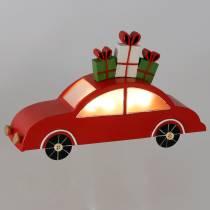 Voiture de Noël avec LED métal rouge 25cm H14,5cm pour batterie.