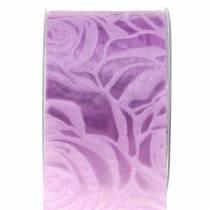 Ruban décoratif large Roses Violet 63mm 20m