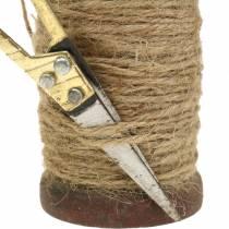 Bobine de ruban jute avec ciseaux Ø5cm H8cm 2pcs