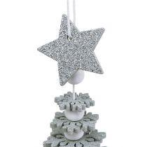 Suspension Sapin de Noël avec clochette Argent 29cm