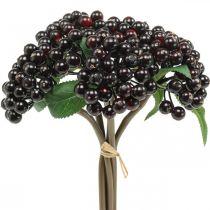 Branche de baies rouge noir couronne d'automne déco artificielle 25cm 5pcs en bouquet