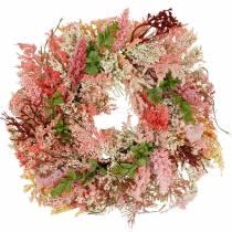 Couronne de bruyère artificielle rose Ø48cm