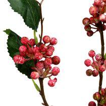 Branche de baies artificielles rouges et blanches 64 cm 6 p.