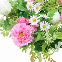 Couronne de Bellis / damier fleur rose, blanc Ø30cm