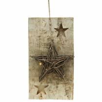 Panneau de Noël bouleau avec étoile LED / piles 40cm