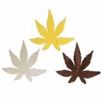Feuilles décoratives feuilles jaunes, marron, platine assorties 4cm 72pcs