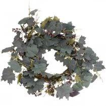 Couronne décorative feuilles de vigne et raisins Couronne d'automne vignes Ø60cm