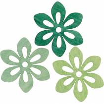 Fleurs éparses vertes, décoration printanière, fleurs en bois à disperser, décoration de table 72pcs