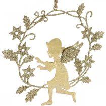 Couronne d'ange, décoration de Noël, ange à accrocher, pendentif métal Doré H14cm L15.5