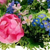 Couronne de fleurs pivoine, Bellis Ø30cm rose