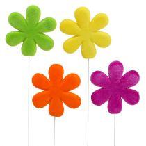 Piques florales fleur floquée colorée Ø 8,5 cm 8 p.