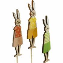 Bouchon de fleur Lapin de Pâques sur un bâton Bouchon de décoration de lapin en bois Décoration de Pâques 9pcs