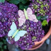 Broche fleur papillon bois 18cm 12pcs