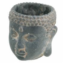 Tête de Bouddha à planter aspect antique béton noir Ø8 H8cm