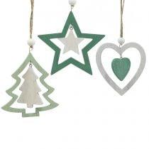 Décoration de sapin de Noël Mélange Vert, blanc 10cm 9pcs