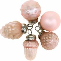 Mini décorations d'arbre fruits d'automne et boules rose, argent véritable verre 3.4–4.4cm 10pcs