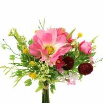 Bouquet décoratif Cosmea et boule de neige en grappe Trié artificiellement rose H18cm