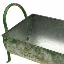 Bac décoratif en zinc à planter avec poignées gris, vert 60 / 43cm lot de 2
