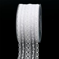 Ruban décoratif dentelle 55 mm 20 m blanc