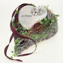 Cœur gris avec rose 16,5 x 10 cm 2 p.