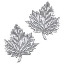 Feuilles décoratives en soie 5 cm argent 60 p.