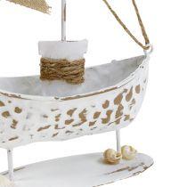 Bateau décoratif sur pied blanc H. 22 cm