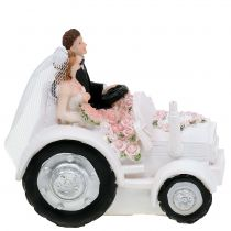 Jeunes mariés décoratifs sur tracteur H. 10 cm