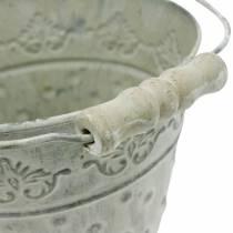 Seau décoratif en métal blanc lavé Ø18,5cm jardinière à pois décoration métal