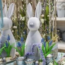 Lapin déco gris floqué 47cm Décoration lapin de Pâques Pâques