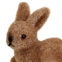 Lapins décoratifs 5cm floqués marron 16pcs.