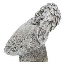 Coeur décoratif avec ange gris 10.5cm 2pcs