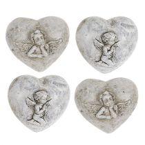 Mini coeurs décoratifs avec des anges 4cm gris 8pcs