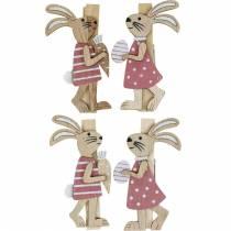 Clips décoratifs lapins lapins de Pâques rose, bois blanc Décoration de Pâques 4pcs