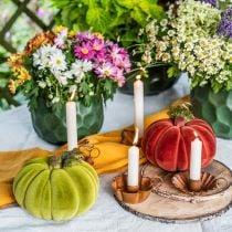 Citrouille décorative floquée mix orange, vert, rouge décoration automne 16cm 3pcs