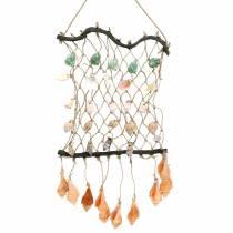 Filet décoratif à suspendre avec coquilles naturelles 25 × 45cm