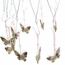 Anneau décoratif pour suspendre le cintre plafond Ø30cm couronne herbacée blanchi blanc