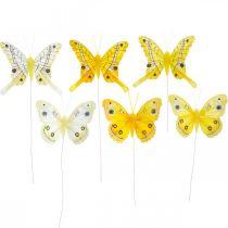 Papillons décoratifs papillon plume jaune sur fil 7,5cm 6pcs