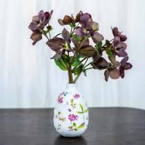 Vase décoratif fleuri blanc Ø11cm H17.5cm